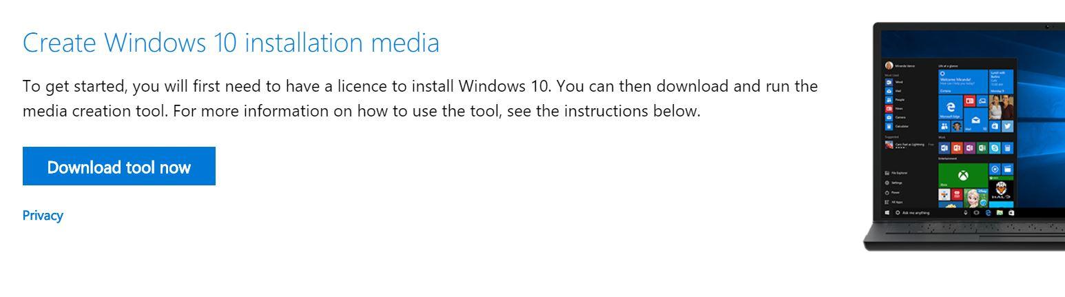 Create Windows 10 installer Media