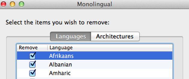 Monolingual - Delete language files
